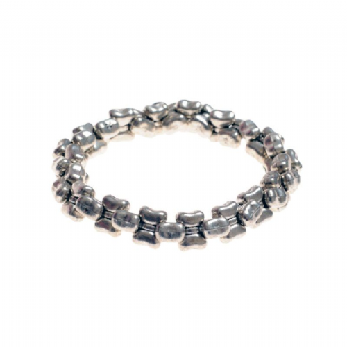 Nobbly Silver Effect Bracelet on Elastic
